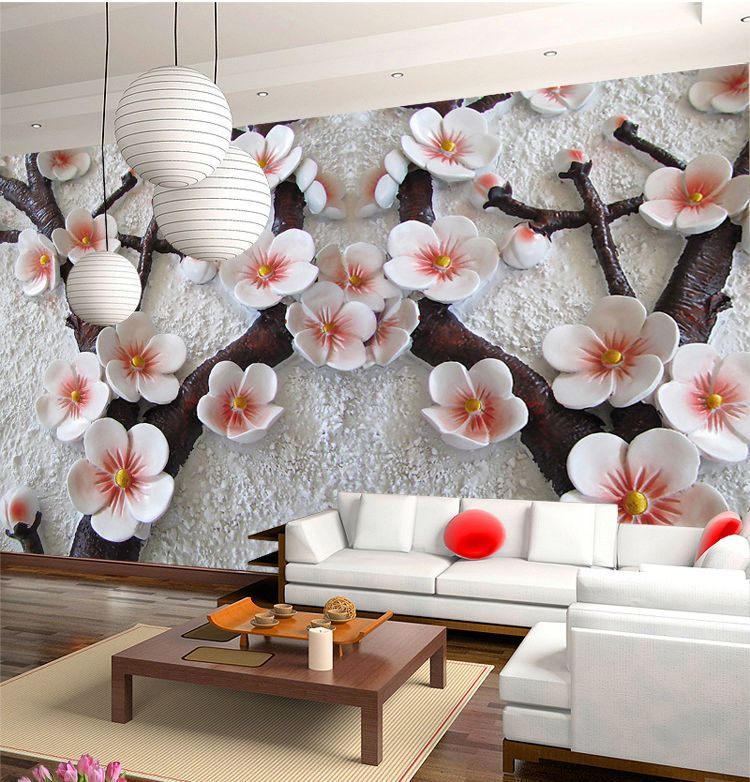 3D Mural Wallpaper Cherry Blossom Embossed Flower Wall
