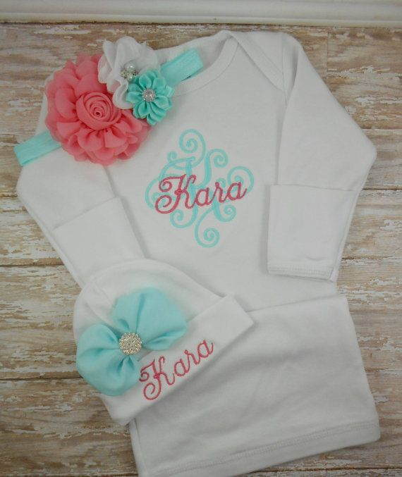 9920a0734ee7c Baby girl coming home outfit Personalized baby by LittleQTCouture Baby  Hospital Outfit, Hospital Bag,