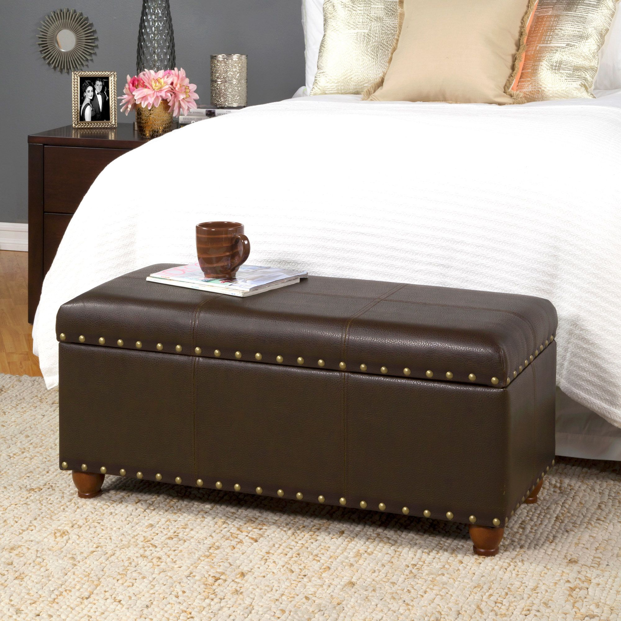 Storage Cocktail Bench Leather Storage Ottoman Storage Bench Storage Bench With Cushion