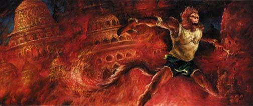 Hanuman burn lanka   Hanuman, Painting, Art