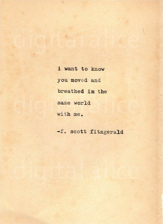 Vintage Typewriter Print F Scott Fitzger - Quotes