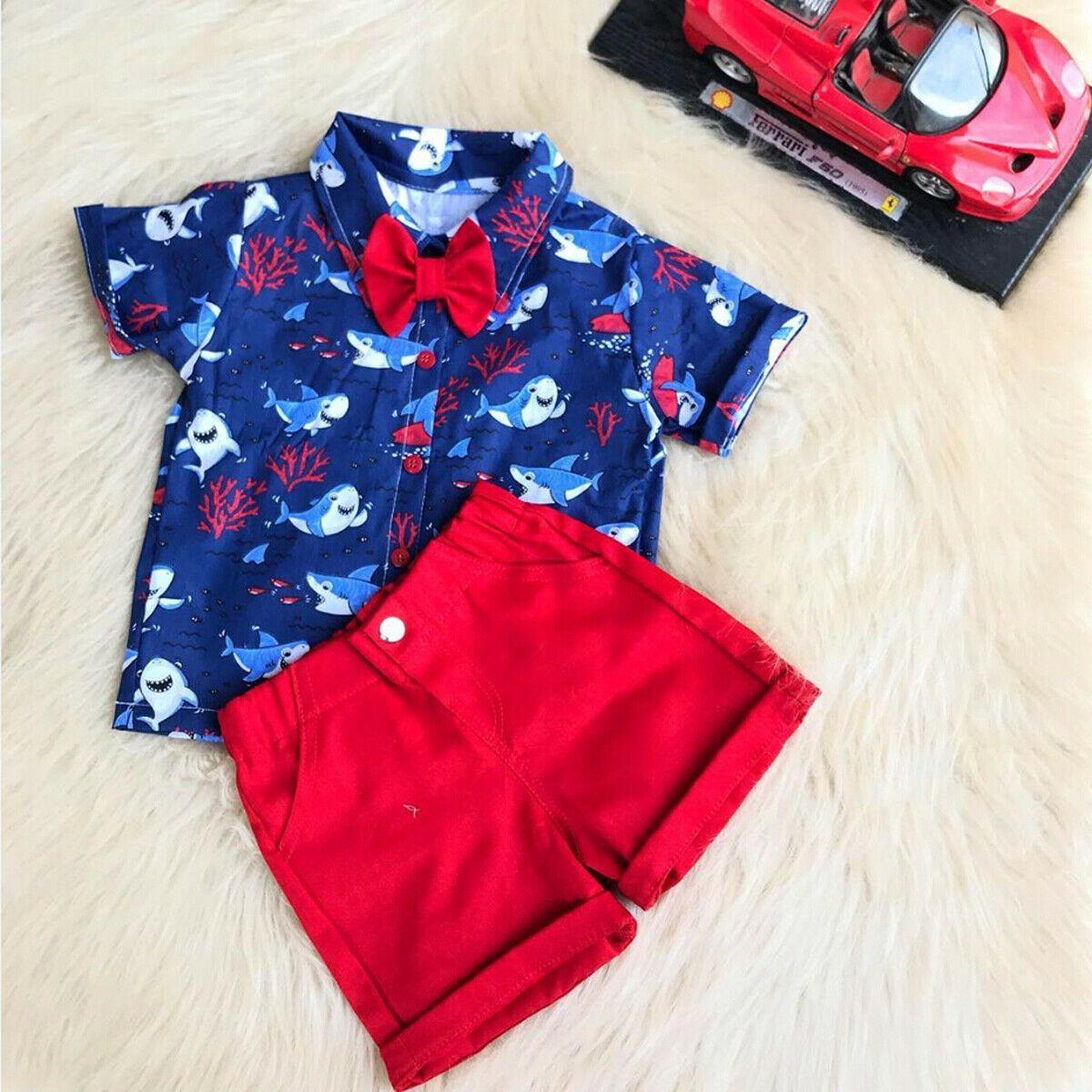 2pcs Toddler Kid Baby Boy Clothes Outfits Animal Printed Shirt Tops Shorts Pants