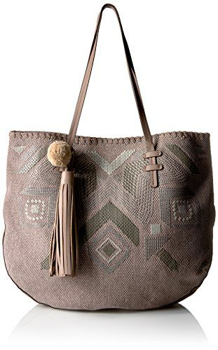 T-Shirt & Jeans Natural Instinct Tote with Pom, Taupe T-S-$31.20