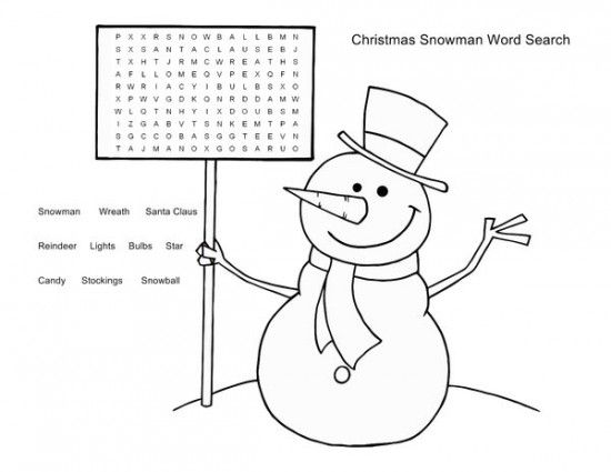 Christmas Coloring Pages Word Searches Picture 1 550x425 Picture Christmas Activities For Kids Christmas Word Search Puzzles For Kids
