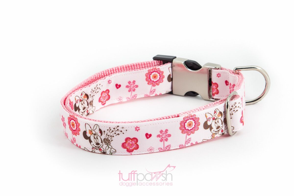 Www Tuffpawsh Com Dog Collar Pink With Minnie Mouse And Flowers