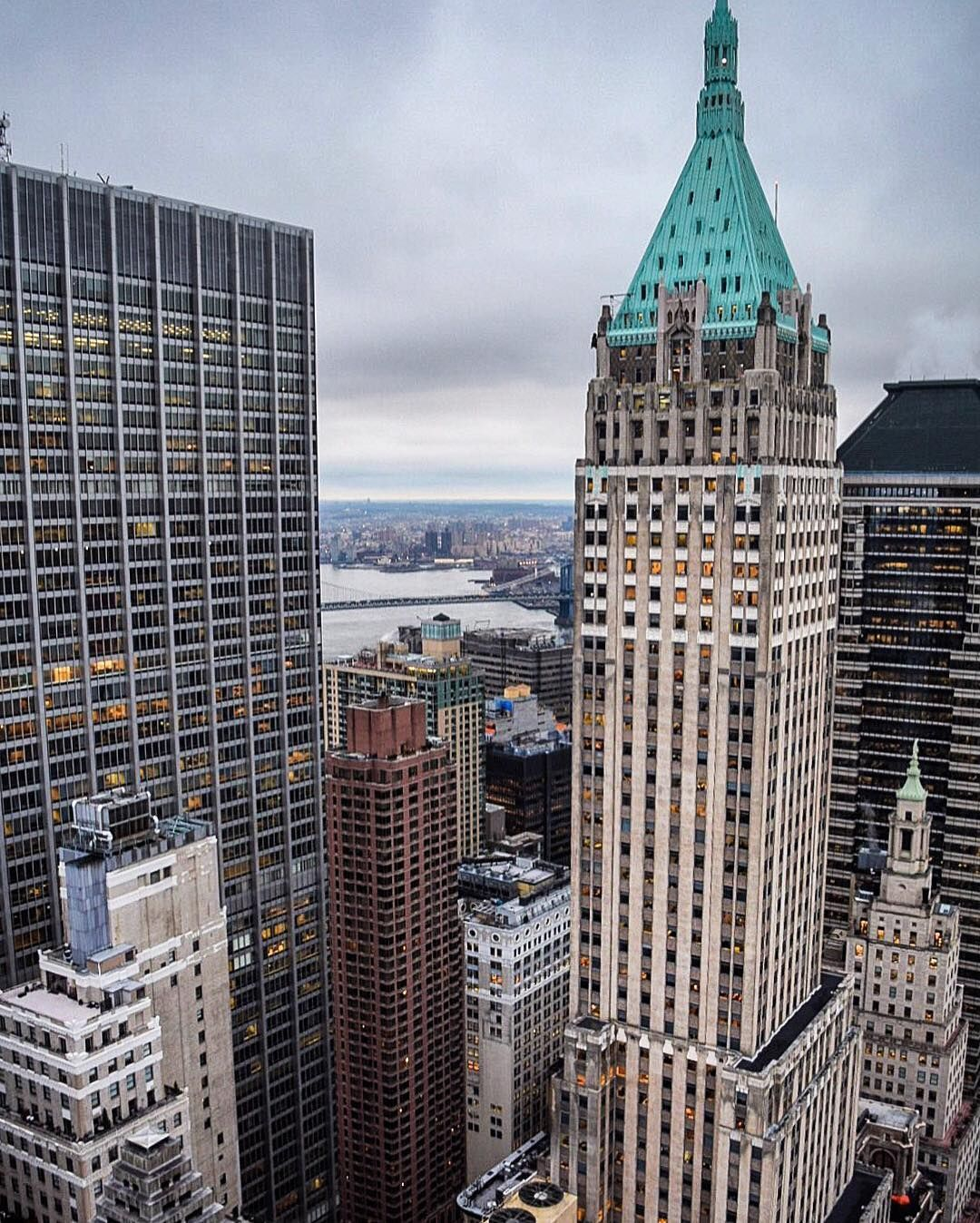 Elena On Instagram Amazing View From Onewallstreet The Building With The Green Roof Is 40 Wall Street New York Pictures Concrete Jungle Chrysler Building