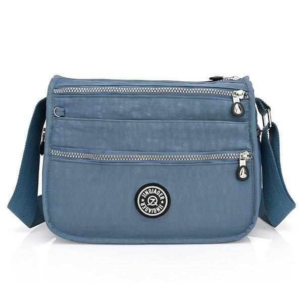 Women Nylon Travel Outdoor Casual Crossbody Bag Multi-zipper Compartment Messenger  Bag 2890e0a330341