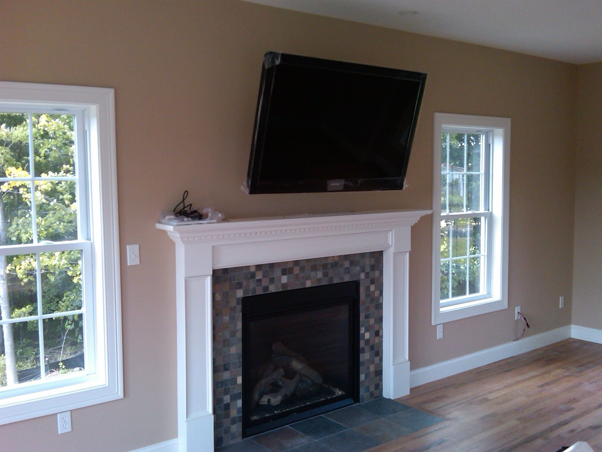 Gas fireplace with tv mounted over it stonington ct - Tv wall mount above fireplace ...
