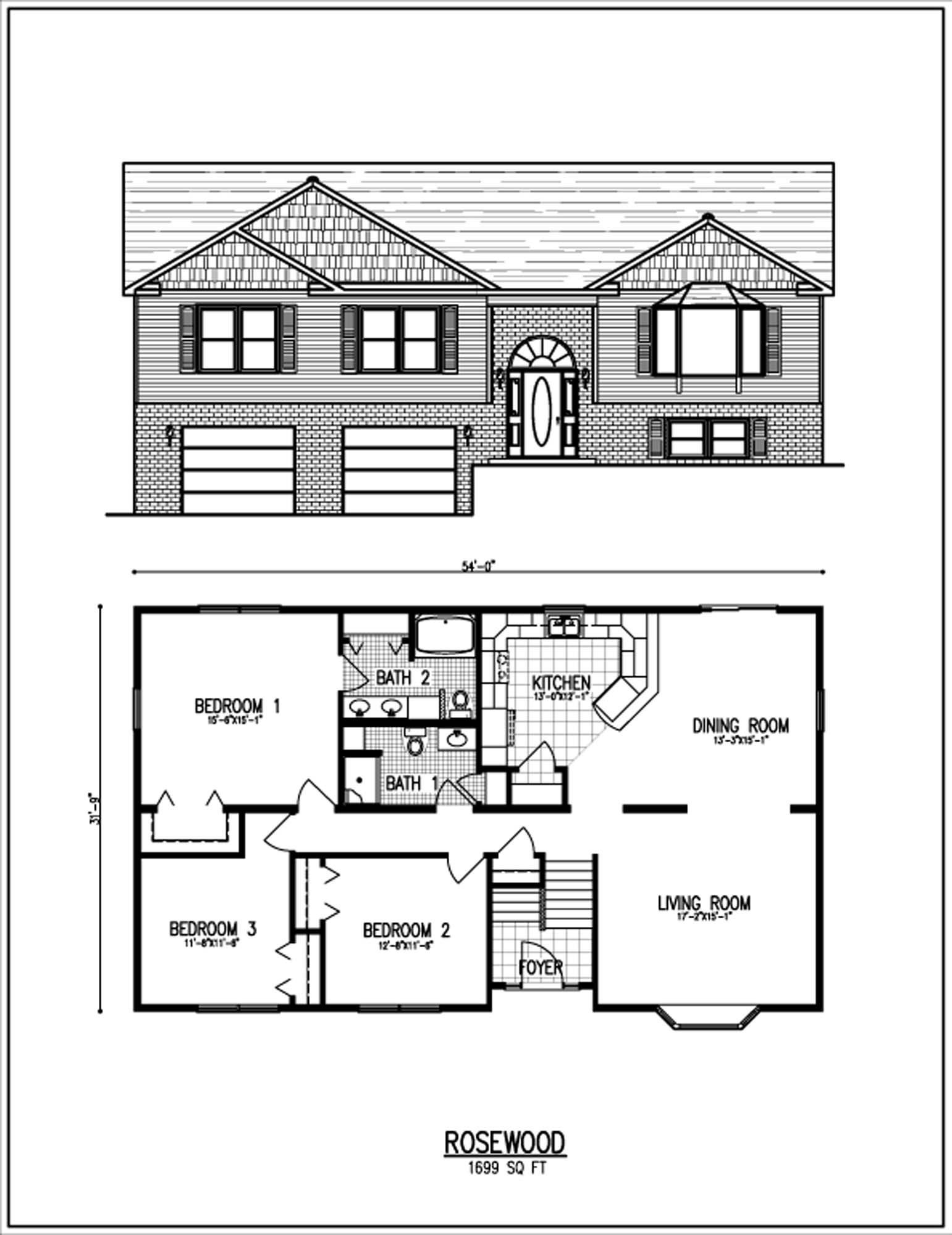 Raised ranch house plans fortin construction custom home for Free ranch house plans