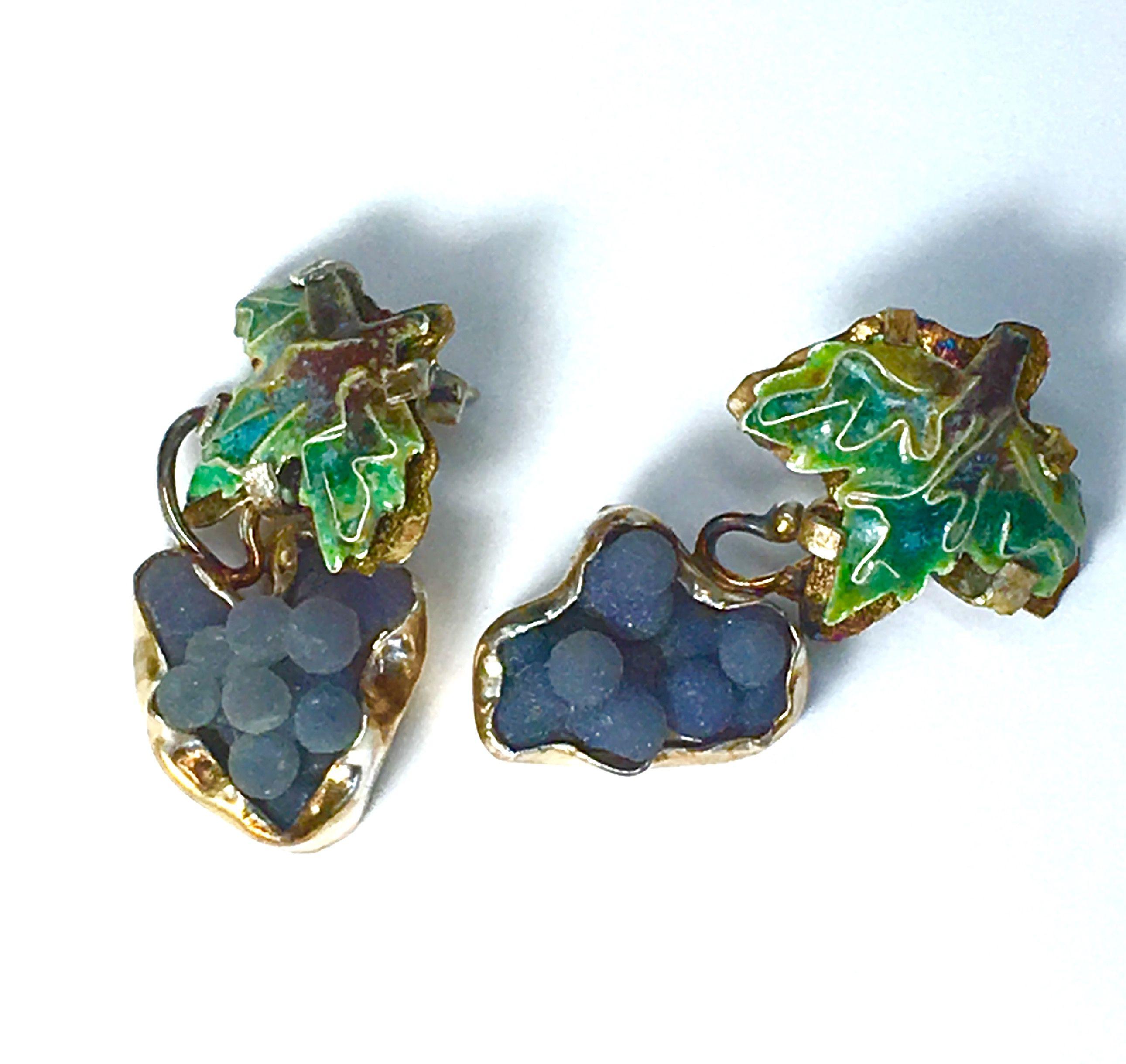 Fine jewelry grape earrings. Grape agate,cloisonn and ...