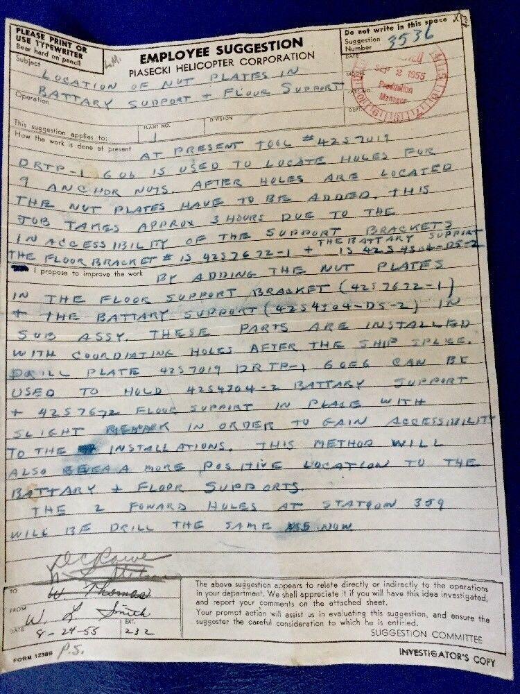 Vintage Piasecki Helicopter Aug 1955 Form 1238 Employee Suggestion 3536 Carbon Ebay Letter Form Lettering Suggestion