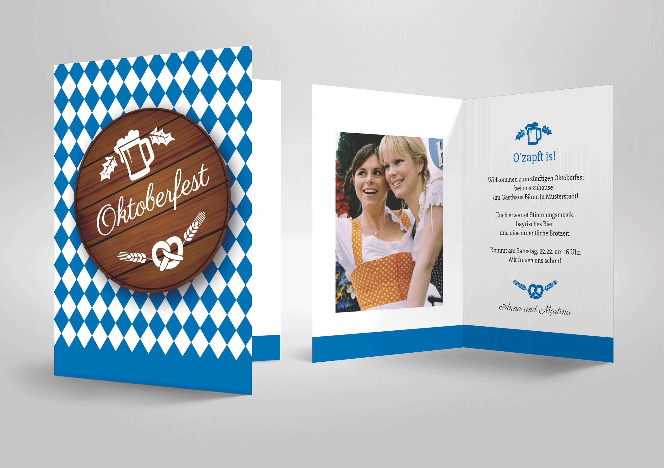 oktoberfest mottoparty einladungskarte zum selbst
