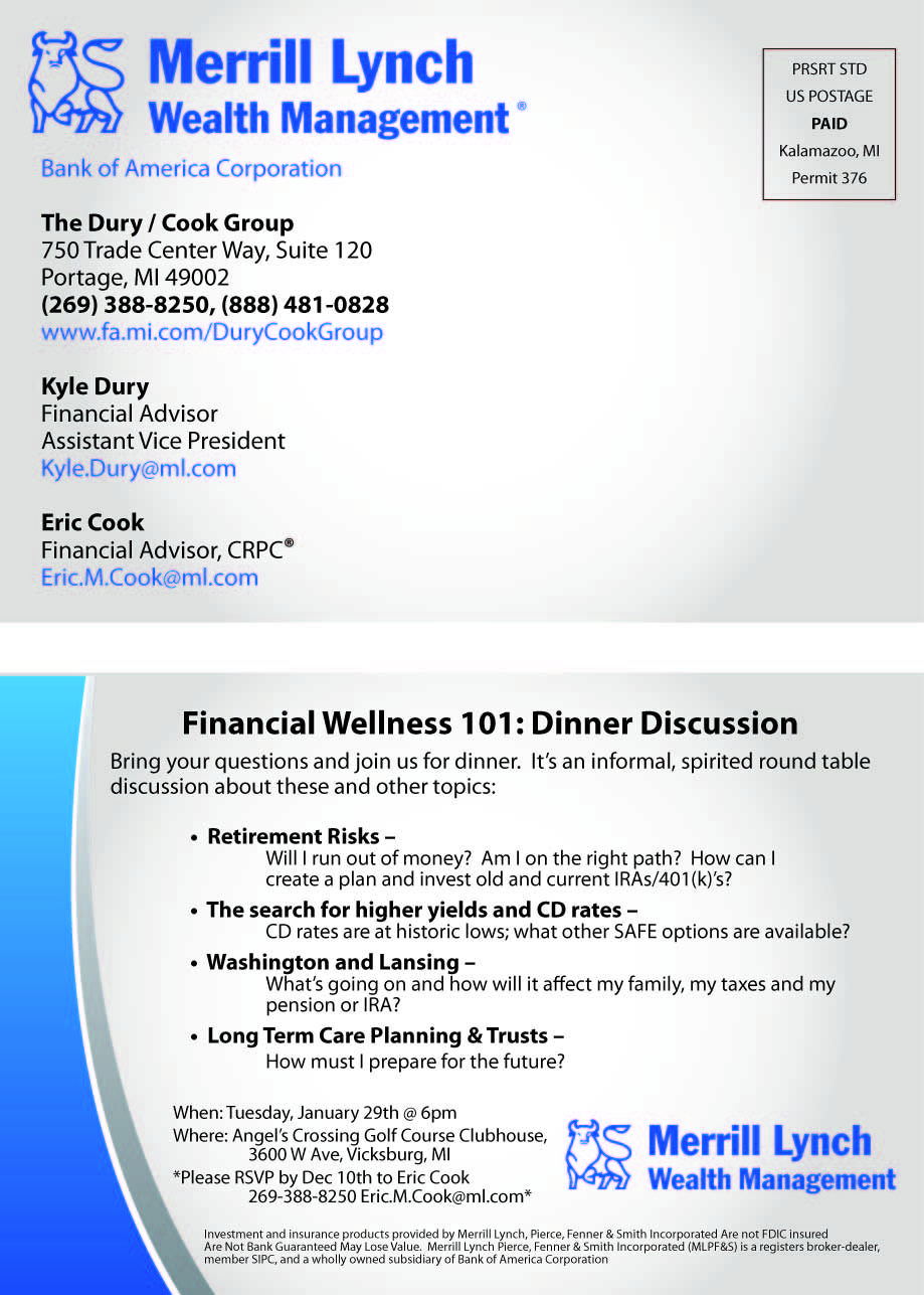 Open House Invite Postcard For Financial Companies Financial Wellness Wealth Management Financial Advisors