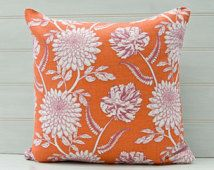 Orange Floral Cushion Cover - throw pillow cover -  Linen Cotton Mix Fabric - Made in the UK