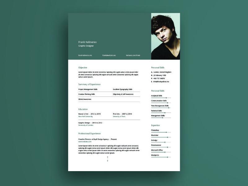 Minimal Resume Template V01 (Illustrator) Resume, Creative - illustrator resume templates