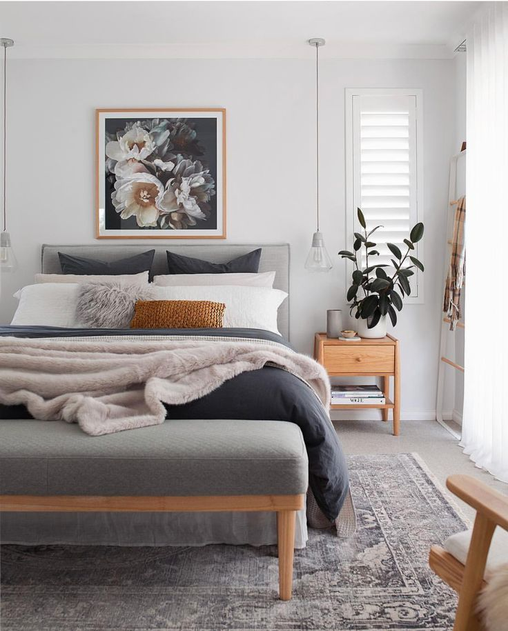 amazing diy modern bedroom furniture | modern bedroom with honey-colored wood, and bedding in ...