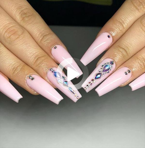 ombre rosa Sargnägel Design, Acryl Sargnägel, rosa Sargnägel Strass, rosa Sargnägel Design Sommer,