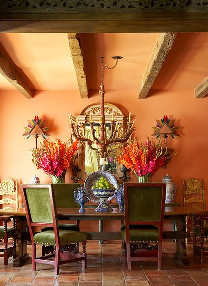 Lovely Colors In This Rustic Dining Room Spanish Style