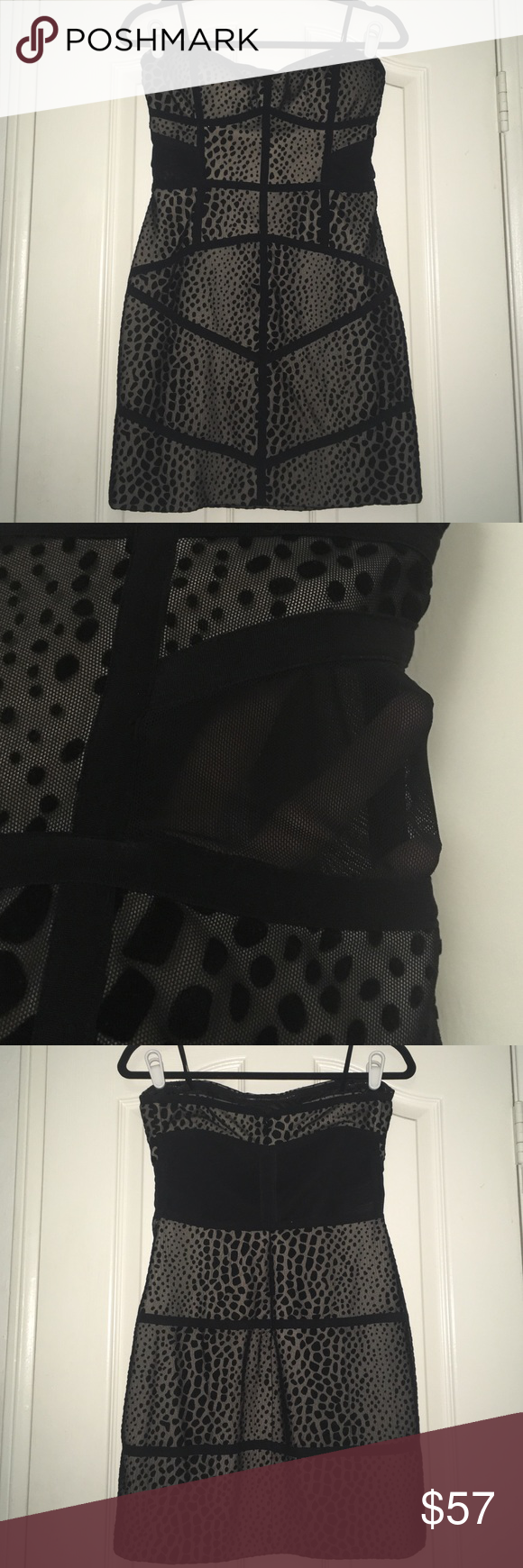 Bebe Nwot dress Stunning mesh black tube bandeau Top is strapless bandeau style, bought for my birthday and ended up wearing something else :) sexy mesh print with mesh cutout sides. Stretchy bodycon will fit many body types :) size medium, runs true to size bebe Dresses Mini