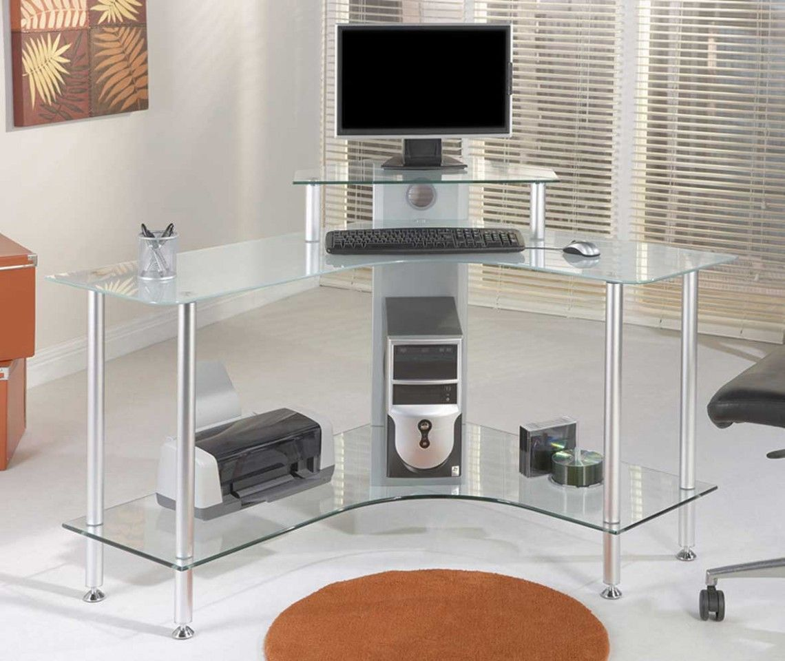 - Office Glass Computer Table Design For Corner With Tiered Open