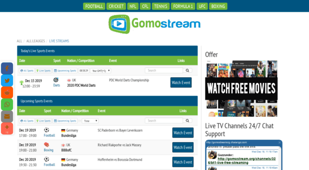 Gomostream Org Live Sports Events Football Cricket Formula 1 Stream Free In 2020 Ufc Boxing Tv Channels Live Tv