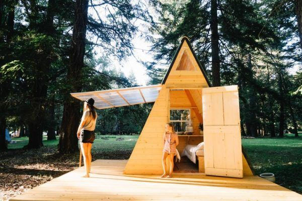 Micro A-frame Cabin in the Woods