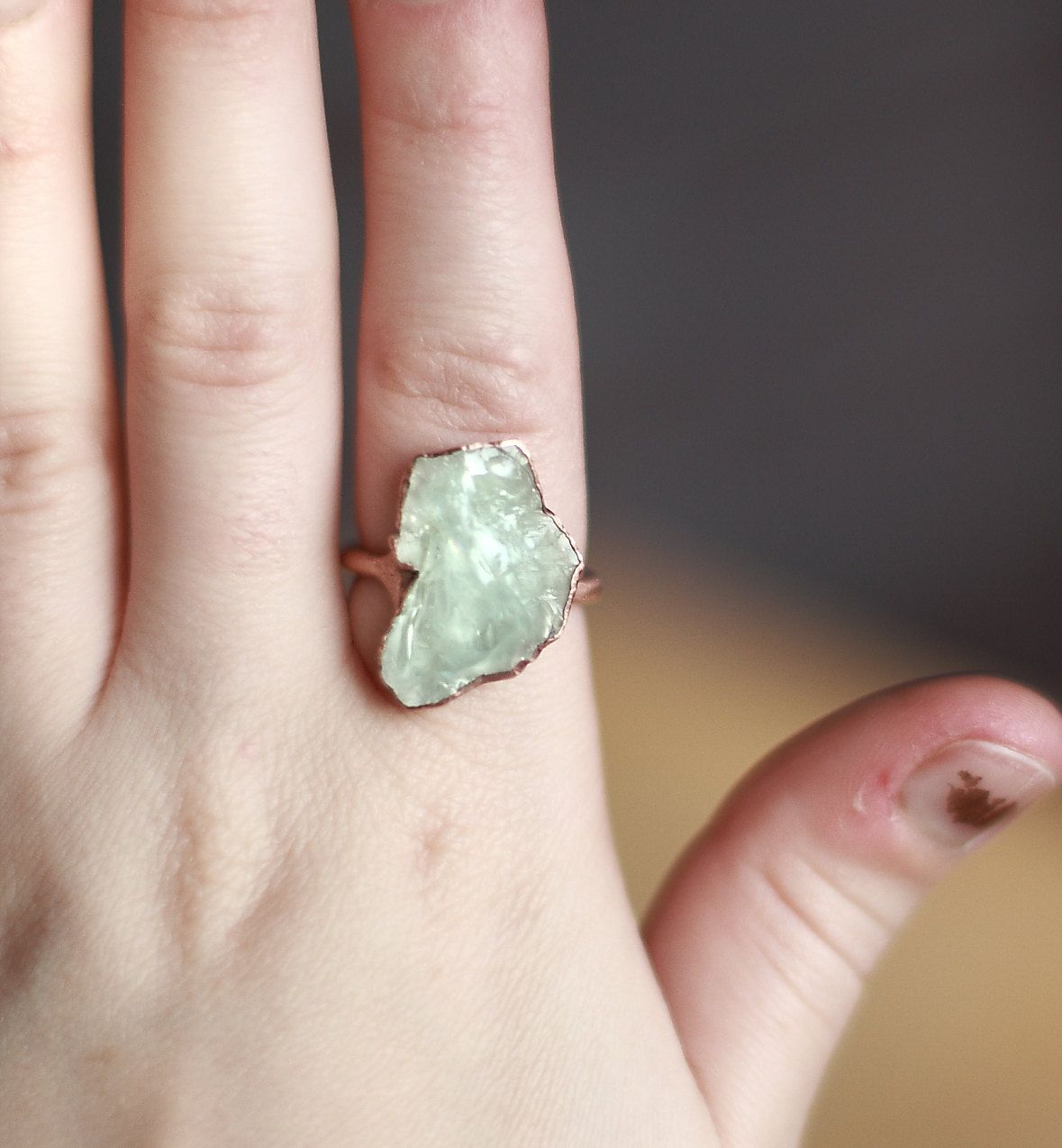 Raw Aquamarine Ring Gemstone Ring Raw by AmandaLeilaniDesigns, $72.00