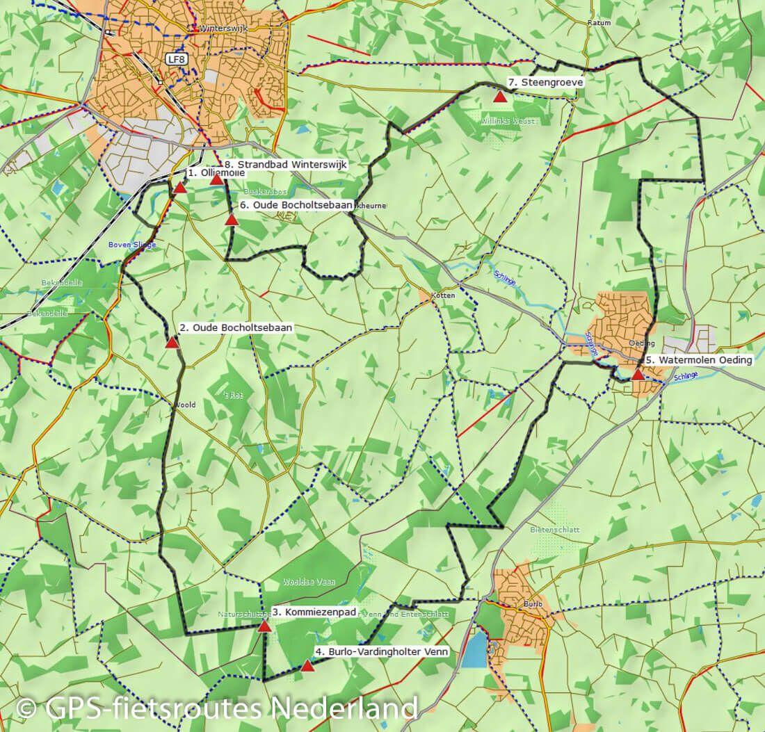 Gps Fietsroute Winterswijk Burlo Oeding 35 Km Kaarten En