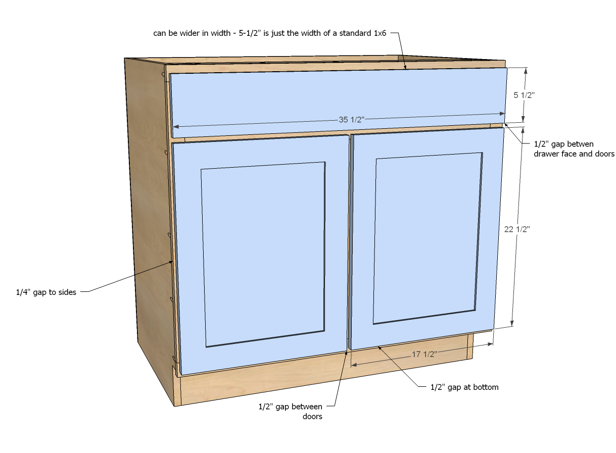 Kitchen Cabinets Face Frame Dimensions Ana White Build A 36 Quot Sink Base Kitchen Cabinet