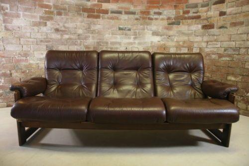 Vintage Dutch Coja Leather Oak 3 Seater Sofa Couch Retro 1960s 1970s