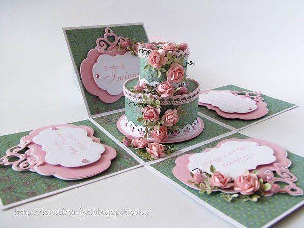 Торт открытка скрапбукинг, открытка
