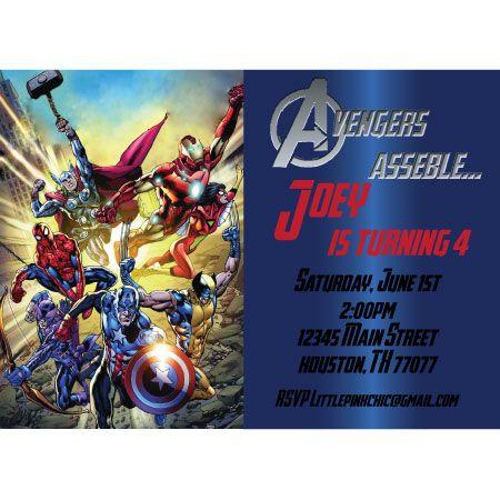 Marvel Avengers Birthday Party Invitation Digital File – Marvel Party Invitations