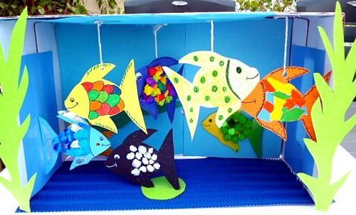 bastelsachen basteln kleines aquarium fische1 kleine entdecker pinterest kleines aquarium. Black Bedroom Furniture Sets. Home Design Ideas