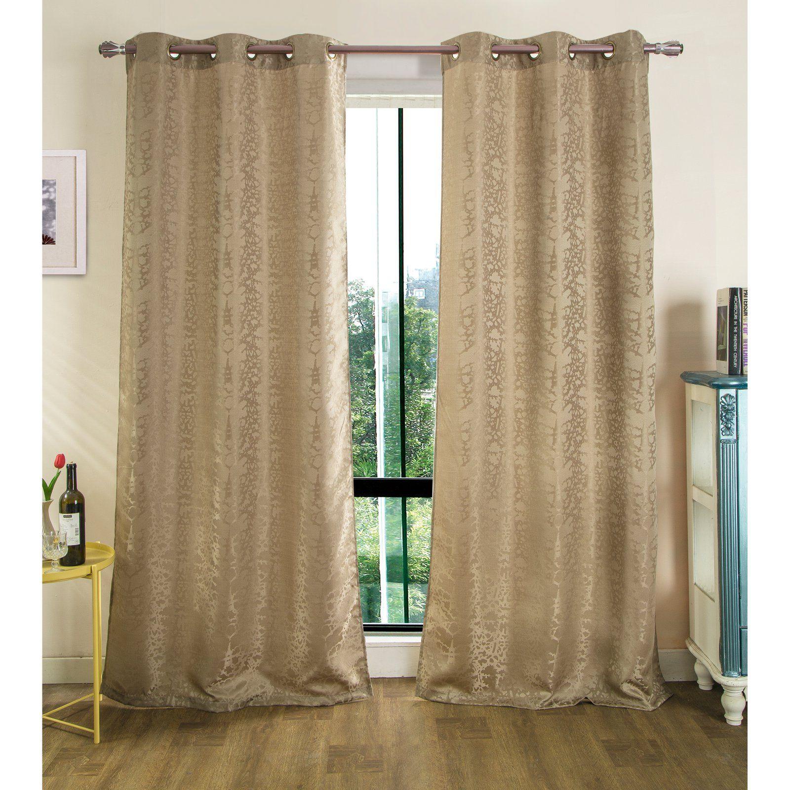 Rt Designers Collection Tina Jacquard Grommet Curtain Panel Pair