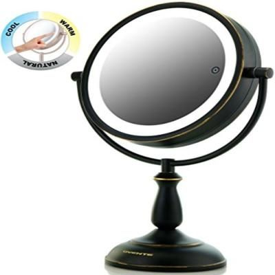 Ovente Oil Rubbed Bronze Dual Sided Led Lighted Makeup Mirror With