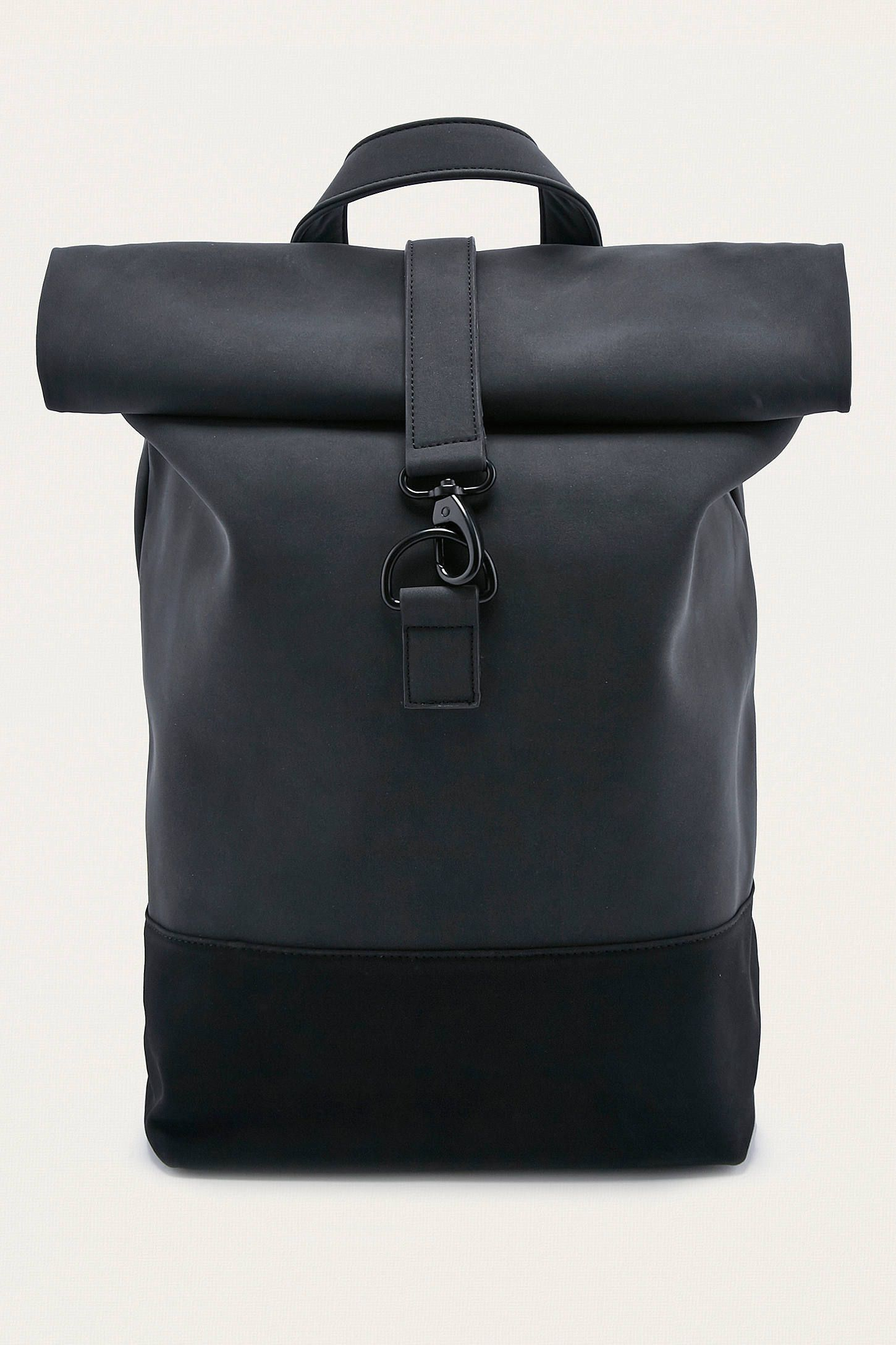 loom matte black rolltop backpack rucksack damen schwarz rucksack m nner und rucksack herren. Black Bedroom Furniture Sets. Home Design Ideas