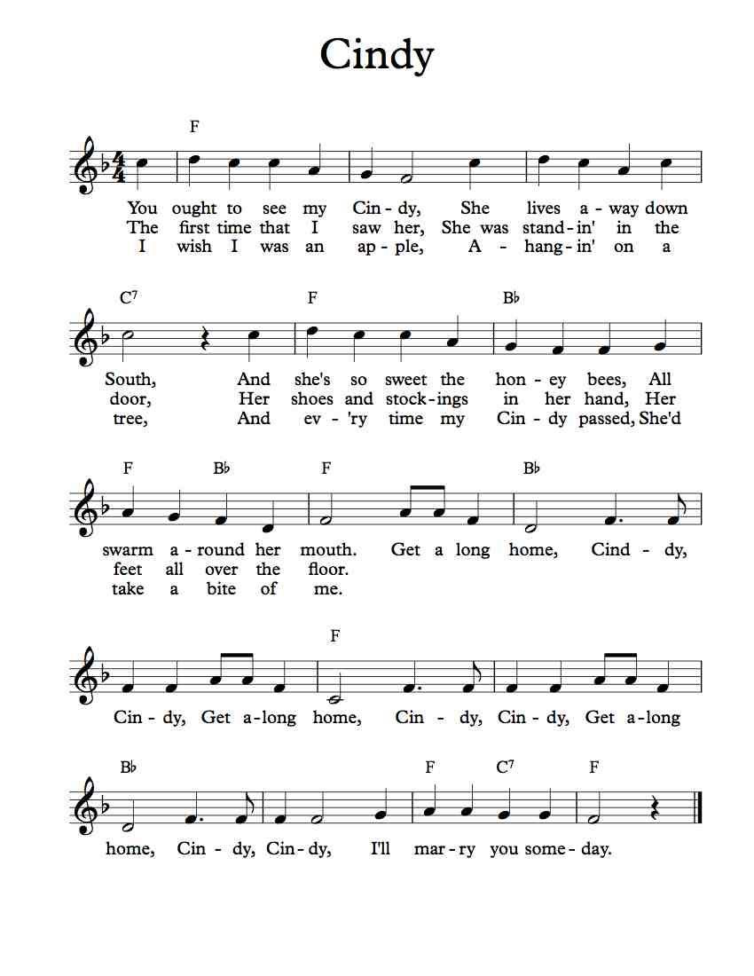 Free Lead Sheet – Cindy | Free Lead Sheets | Lead sheet, Music