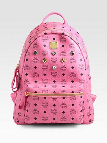 MCM Six Stud Stark Backpack | Pink mcm backpack, Studded