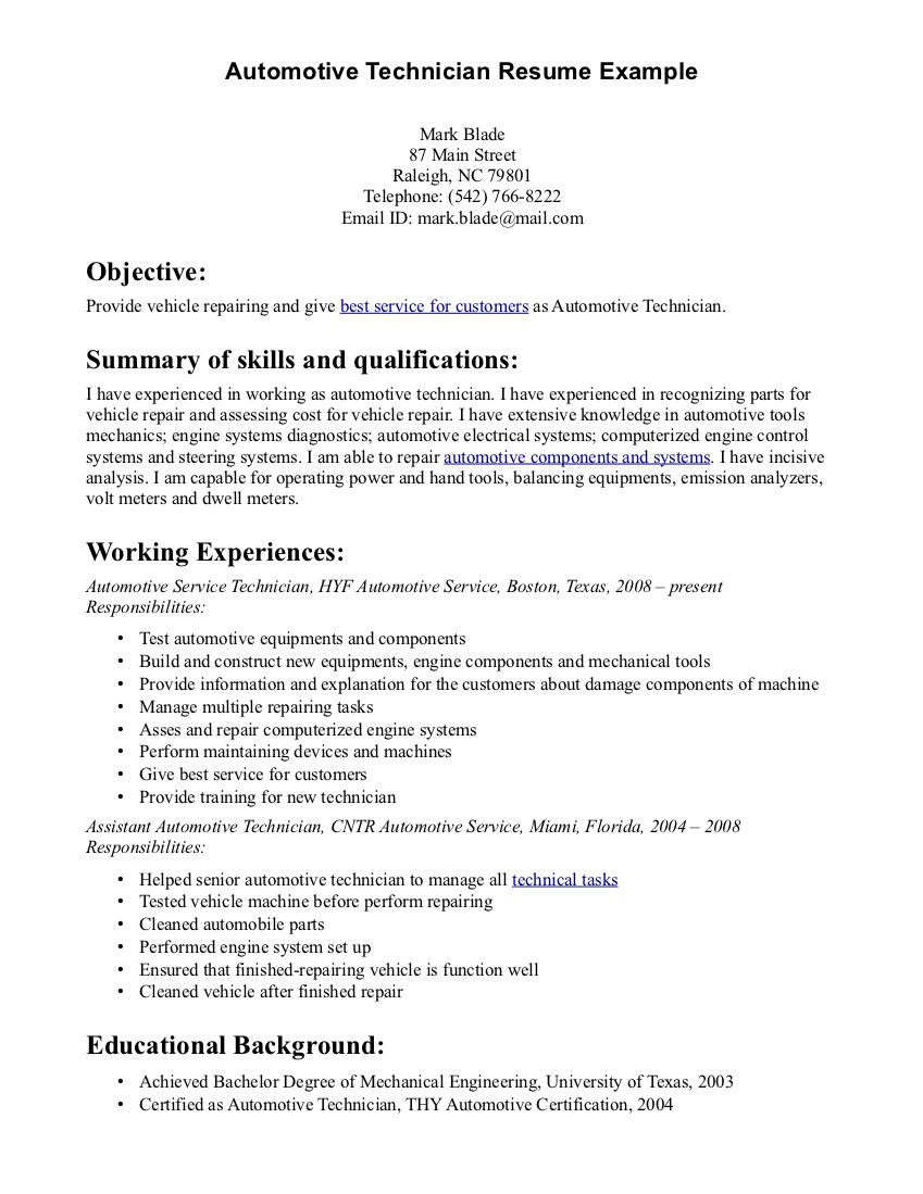automotive resume samples