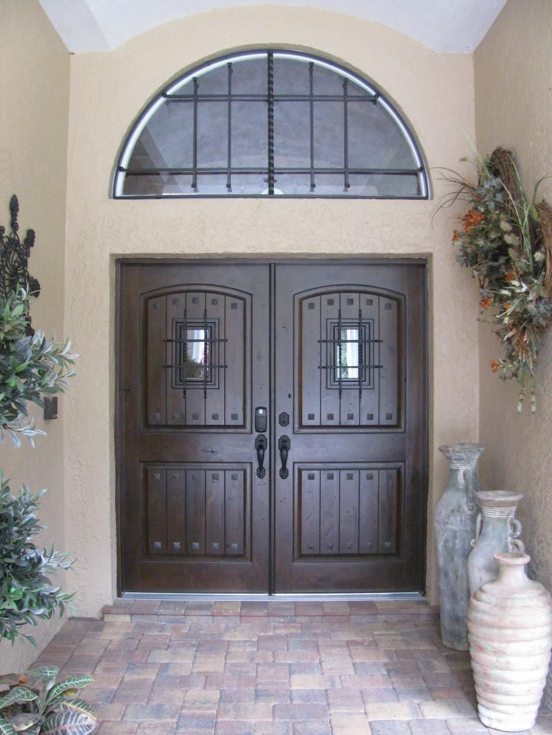 Rustic double front door - Double Wood Rustic Planked Pre Finished Doors With Speakeasy From Glasscraft