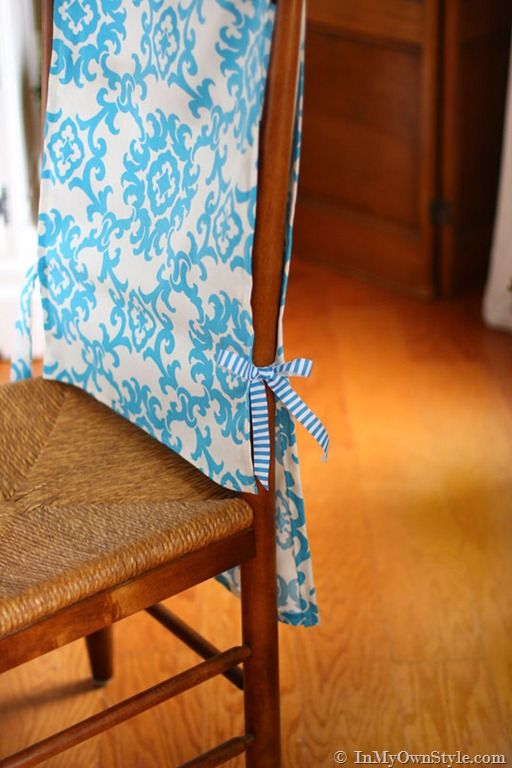 Step By Photo Tutorial Showing How To Make No Sew Chair Back Runners For Dining Room Chairs