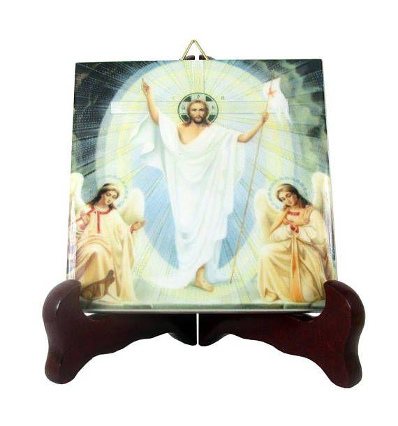 Inspirational gifts on etsy risen jesus christ icon on ceramic risen jesus christ catholic art religious icon handmade in italy ceramic tile resurrection of jesus easter gift christian art negle Gallery