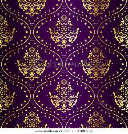 Love The Deep Purple Hue And Gold Foil In This Wallpaper