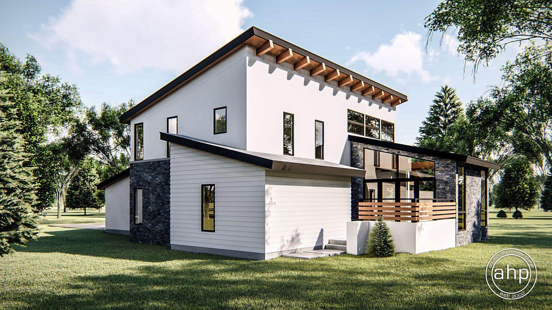 1.5 Story Modern House Plan | Regency | Mountain house plans ...