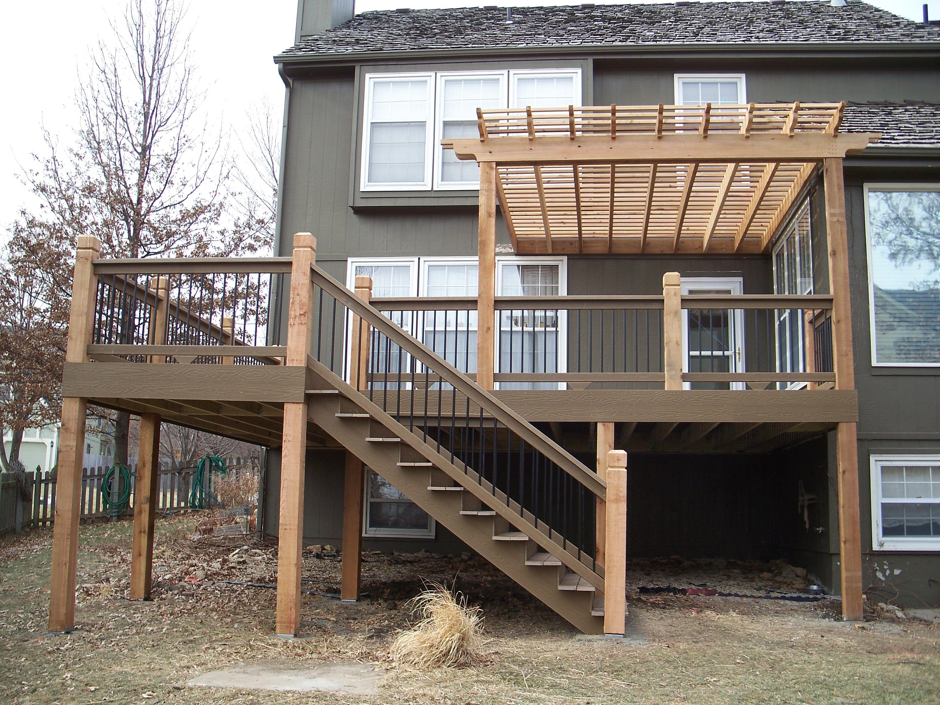 Evergrain Quot Weathered Wood Quot Composite Deck With Cedar Pergola Second Story Deck Pergola Plans Building A Pergola