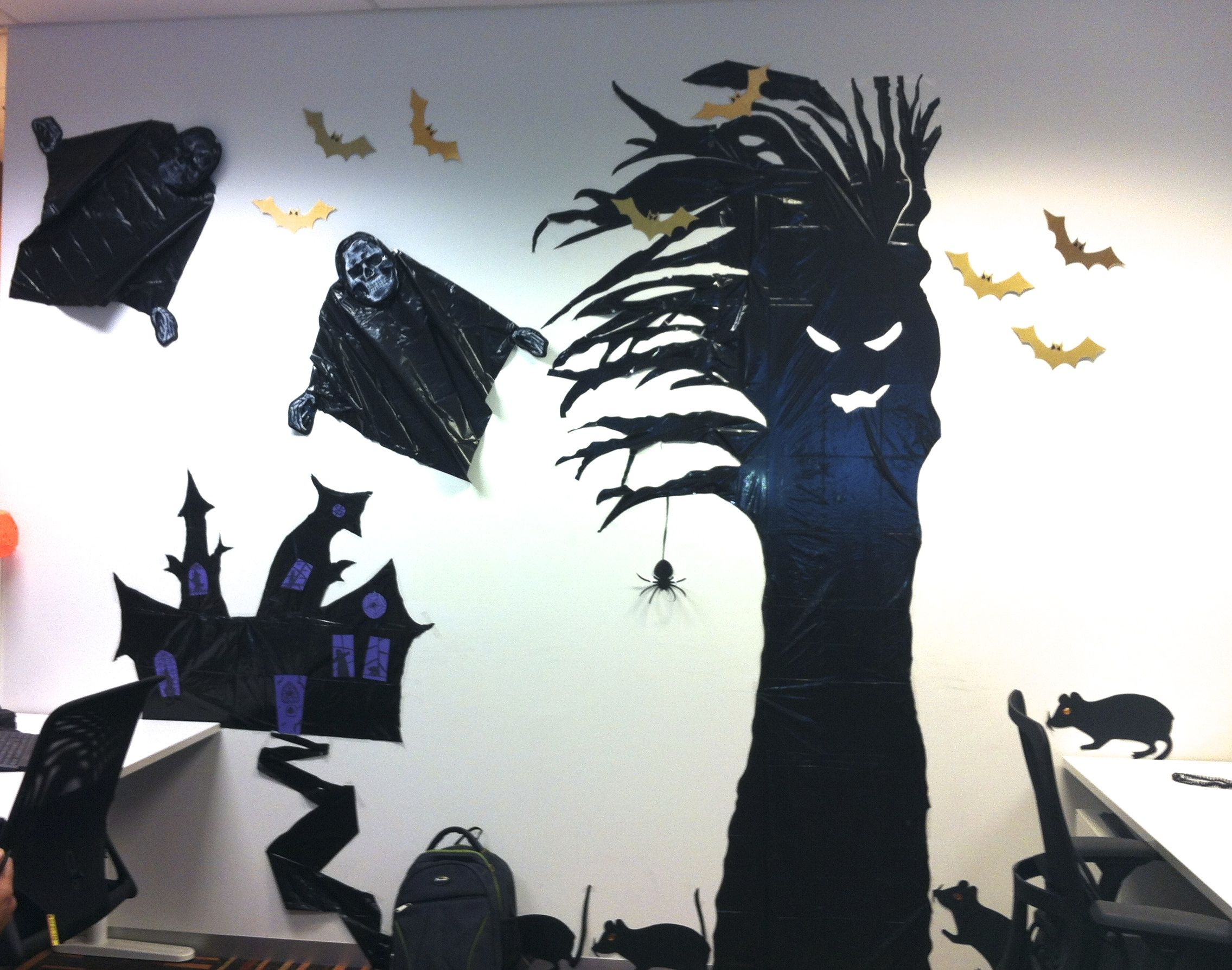 Halloween Decorations at the office made from black plastic - halloween decorations for the office