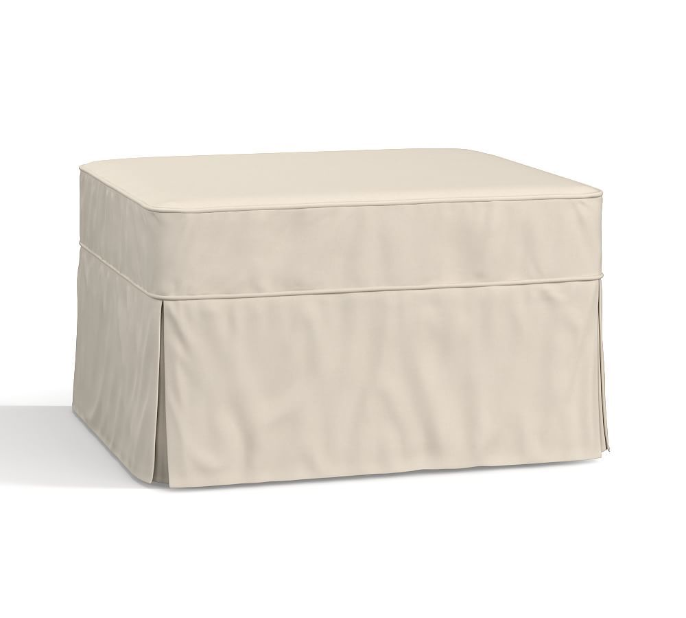 Pb Basic Ottoman Slipcover Brushed Canvas Stone Slipcovers Footstool Furniture Covers Pottery Barn