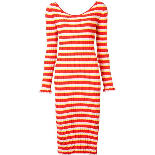 Altuzarra Striped Dress ($697) ❤ liked on Polyvore featuring dresses, red, stripe dress, red striped dress, striped dresses, viscose dresses and rayon dress