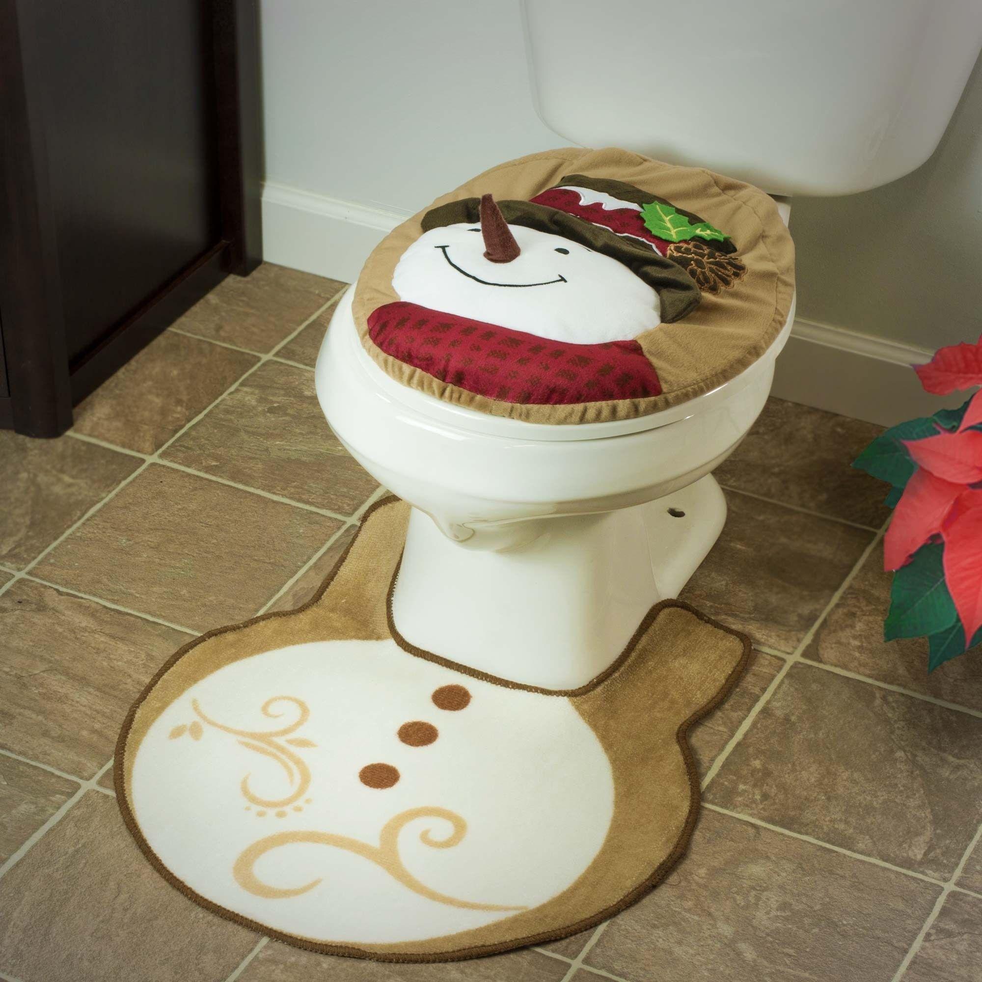 XMAS Christmas Snowman Toilet Seat Cover /& Rug Set for Bathroom Decoration JAZZ