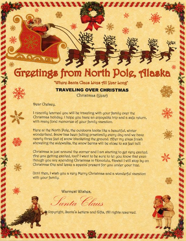 Traveling For Christmas Santa Letter With Images Christmas